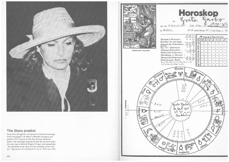 Greta Garbo ... Great fame through her own powers is what the horoscope, which astrologist C. H. Huter in Dresden, Germany, prepared in 1931 foresaw for the then 26-year-old Greta Garbo. The astrologist pointed out that she was born under the same sign as Richard Wagner (Virgo), and claimed that �the spiritually erotic rules over the sensually erotic in her life�. Big success was predicted for her in 1932 and 1933.